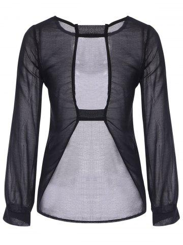 Outfits Sexy Round Neck Long Sleeve Black Cut Out Women's T-Shirt - L BLACK Mobile