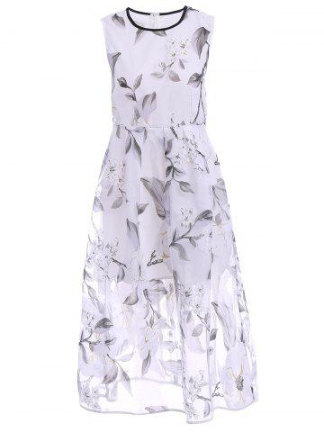 Sale Sweet Jewel Neck Sleeveless Organza Floral Dress For Women WHITE M
