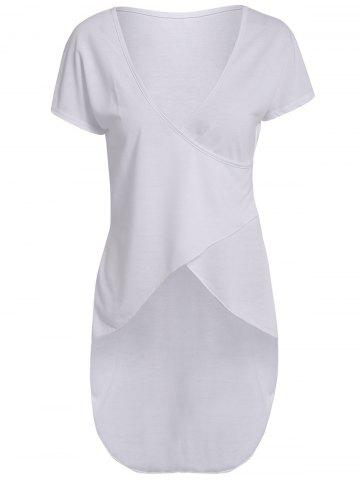 Discount Trendy Plunging Neck Slit Asymmetric White Pullover T-Shirt For Women