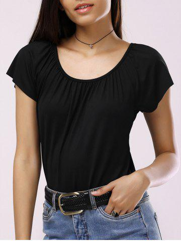 Shops Brief Scoop Neck Solid Color Pleated Women's T-Shirt BLACK XL