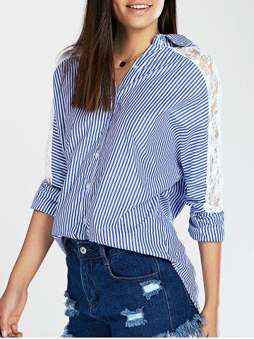 Latest Lace Spliced Batwing Sleeve High-Low Striped Shirt