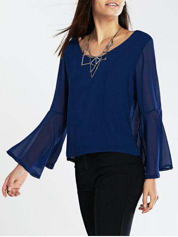 Chic Flare Sleeves Loose-Fitting Blouse