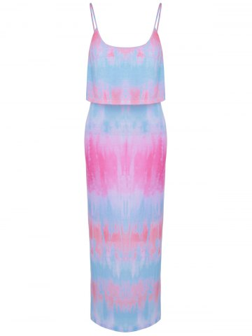 Fancy Tie-Dyed Flounce Overlay Slip Dress COLORMIX XL