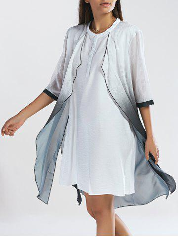 Trendy Chic Buttoned Ombre Faux Twinset Women's Dress