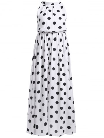 Buy Vintage Stand Collar Sleeveless Polka Dot Dress For Women
