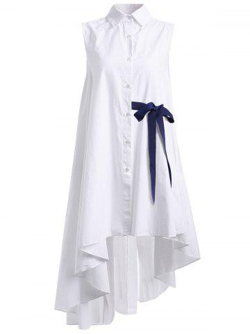 Fancy Stunning Sleeveless Ruffled Shirt Dress For Women