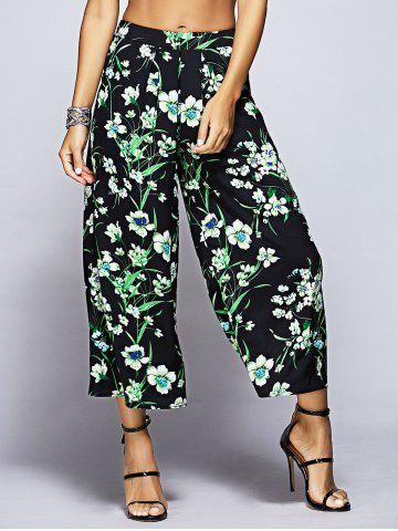 Buy Tropical Floral Capri Palazzo Pants BLACK AND GREEN S