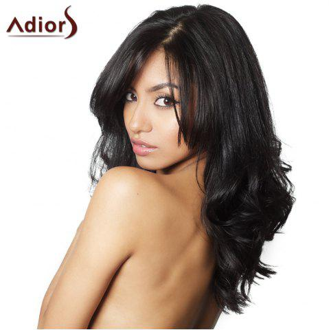 Outfits Refreshing Long Middle Part Synthetic Fluffy Wave Black Adiors Wig For Women