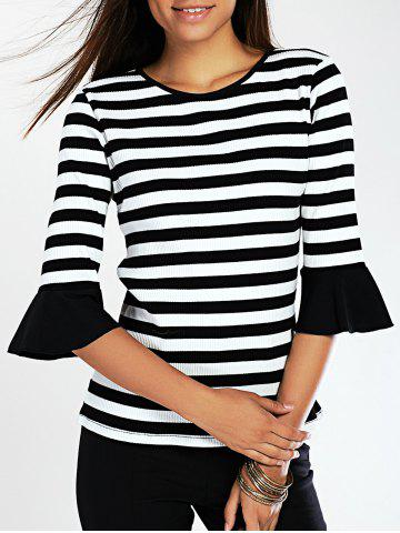 Sale Stylish Flare Sleeve Striped Women's Knitted T-Shirt