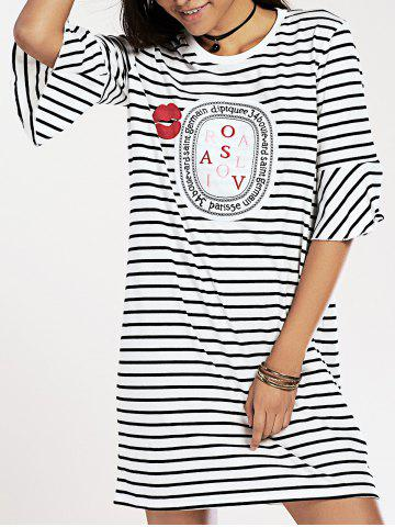 Unique Flare Sleeve Round Neck Striped Letter Print Dress