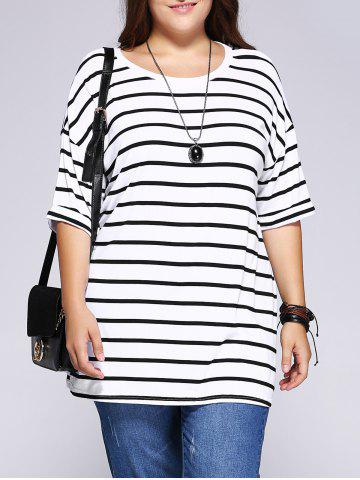 Hot Casual Plus Size Striped Loose-Fitting T-Shirt