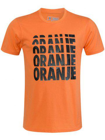 Fashion Round Neck Ombre Oranje Letters Print Short Sleeve T-Shirt For Men