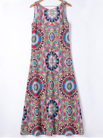 Ethnic Style Slimming Round Neck A-Line Dress For Women - Colormix - S
