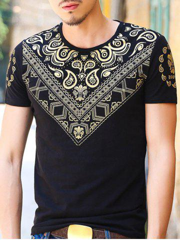 Hot Gloden Geometric Paisley Printing Slimming Round Neck Short Sleeves T-Shirt For Men