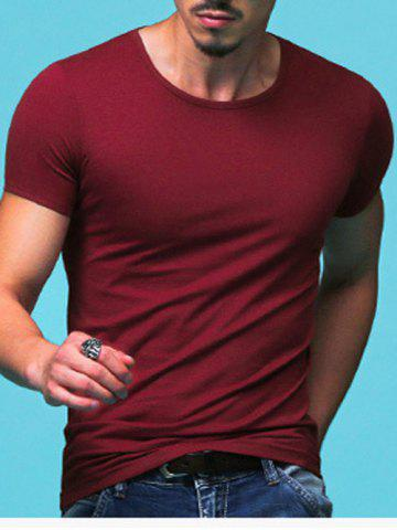 Unique Slimming Round Neck Solid Color Short Sleeves T-Shirt For Men CLARET XL