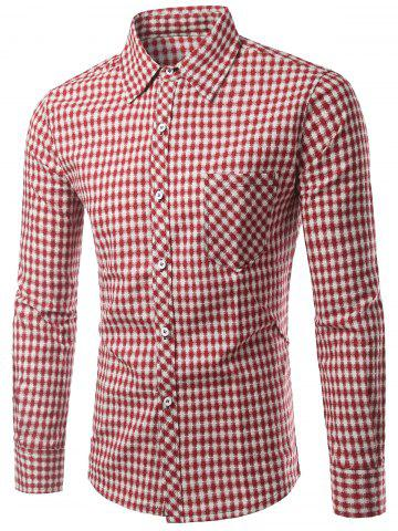 Shop Slimming Small Grid Long Sleeve Shirt For Men