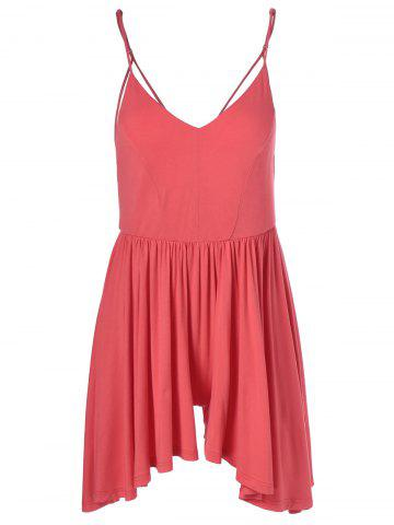 Fashionable Spaghetti Strap Backless Flounce Romper For Women - Watermelon Red - S