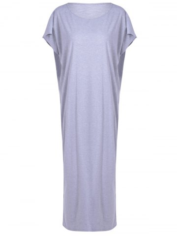 Shop Casual Loose-Fitting Round Neck Openwork Dress For Women GRAY XL