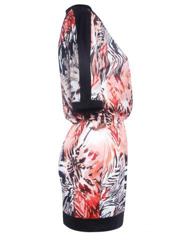 Sale Fashionable Round Neck Printed Splicing Women's Dress - S BLACK Mobile