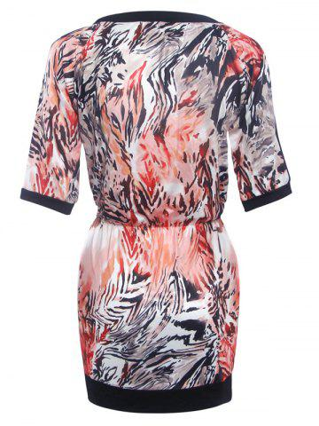 Chic Fashionable Round Neck Printed Splicing Women's Dress - S BLACK Mobile