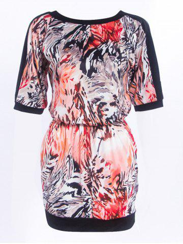 Shops Fashionable Round Neck Printed Splicing Women's Dress - S BLACK Mobile