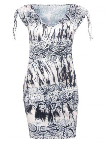 Trendy Trendy V-Neck Snakeskin Print Skinny Women's Dress