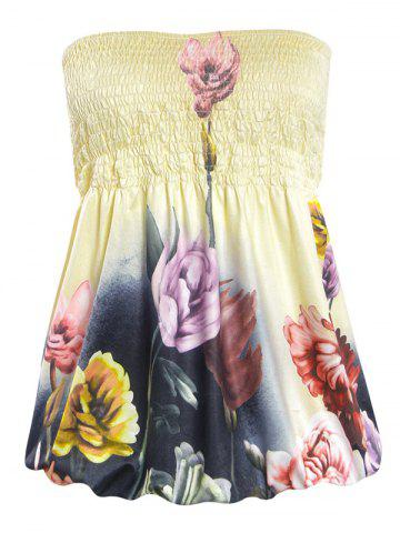 Alluring Strapless Floral Print Slimming Women's Tube Top - Light Yellow - S