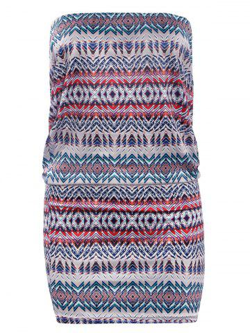 Chic Strapless Geometric Print Bodycon Dress