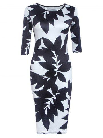 Affordable Chic Round Neck Half Sleeve Leaf Print Skinny Women's Dress BLACK XL