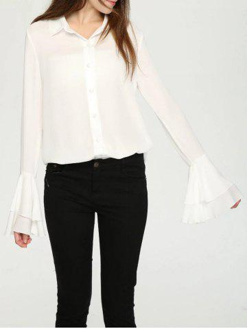 Affordable Elegant Layered Flare Sleeve Buttoned Women's Shirt