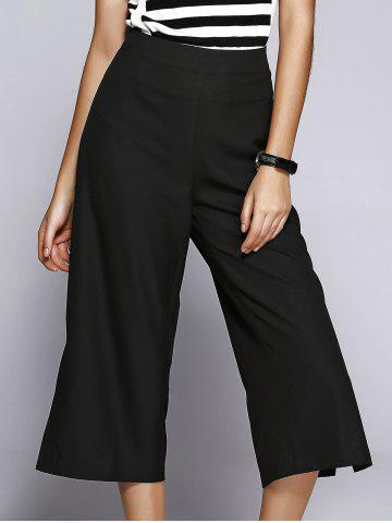 Outfit Slit Capri Wide-Leg High Waisted Pants BLACK S