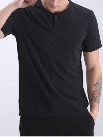 Hot Round Neck Solid Color Button Design Short Sleeves T-Shirt For Men
