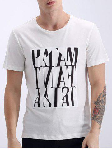 Chic Round Neck Solid Color Printed Short Sleeves T-Shirt For Men