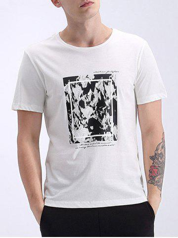 Trendy Refreshing Round Neck Abstract Print Short Sleeves T-Shirt For Men
