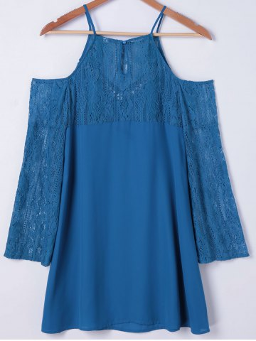 Fashion Cold Shoulder Long Sleeve Shift Dress - M MEDIUM BLUE Mobile