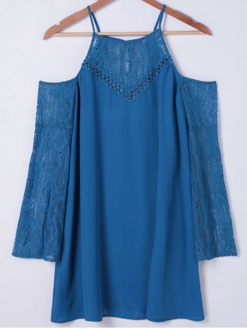 New Cold Shoulder Long Sleeve Shift Dress - M MEDIUM BLUE Mobile