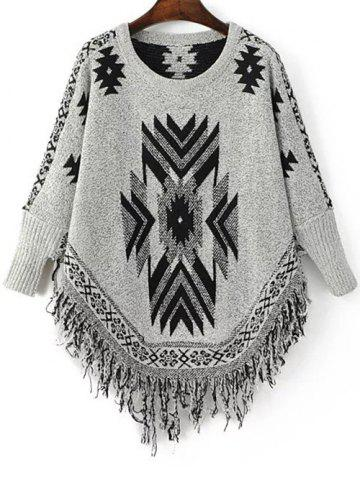 Buy Stylish Round Neck Long Sleeve Geometric Tassels Women's Jumper BLACK AND GREY ONE SIZE