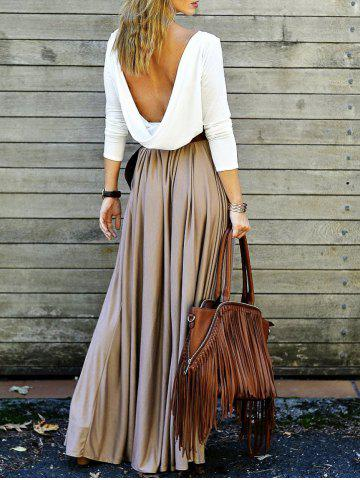 Outfits Backless Long Sleeve Maxi Pleated Prom Dress
