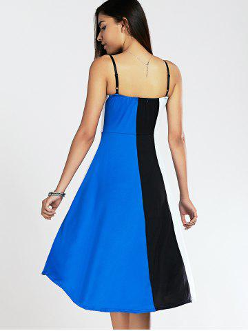 Outfits Spaghetti Strap Color Blocks High-Low Summer Dress - XL BLUE AND BLACK Mobile