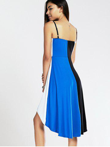 Discount Spaghetti Strap Color Blocks High-Low Summer Dress - XL BLUE AND BLACK Mobile