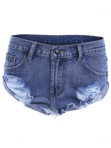 Affordable Ripped High Waist Jeans Shorts - 40 DEEP BLUE Mobile