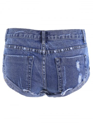 Affordable Ripped High Waist Jeans Shorts - 38 DEEP BLUE Mobile