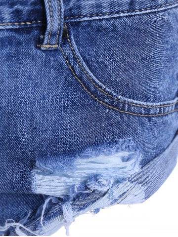 Latest Ripped High Waist Jeans Shorts - 34 DEEP BLUE Mobile