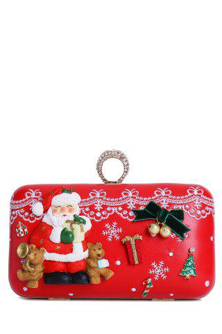 Outfit Christmas Metal Trimmed Evening Bag - RED  Mobile