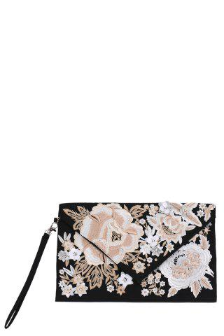 Online Embroidery Envelope Clutch BLACK