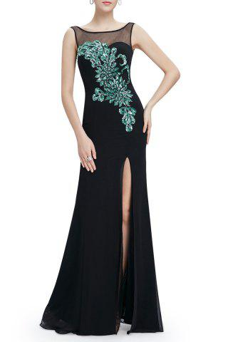 Buy Backless Slit Sheer Maxi Cocktail Prom Evening Dress BLACK 2XL