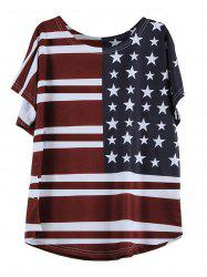 T-Shirt Casual Pattern manches courtes Flag col rond - Rouge vineux  M