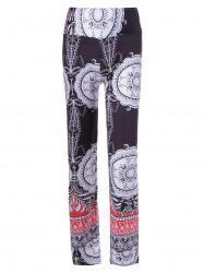 Ethnic Multi Pattern Print Elastic Waist Pants For Women