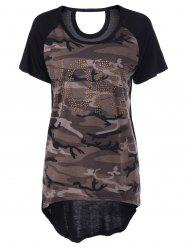 Casual Camouflage Scoop Neck Short Sleeves Top For Women -