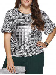 Chic Plus Size Polka Dot Print Flounced Sleeve Blouse
